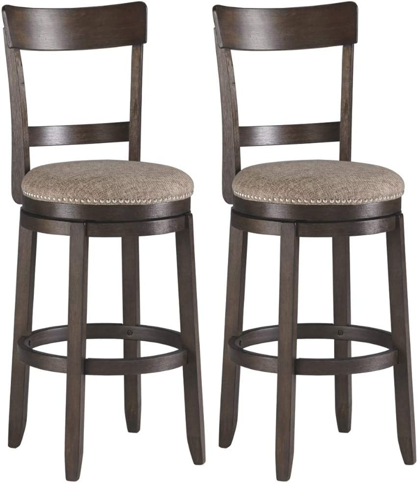 Signature Design By Ashley – Drewing Bar stools – Bar Height – Open Back – Set of 2 – Brown
