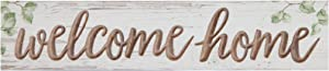 P. Graham Dunn Welcome Home Whitewash 17 x 3.5 Solid Wood Carved Barnhouse Block Sign