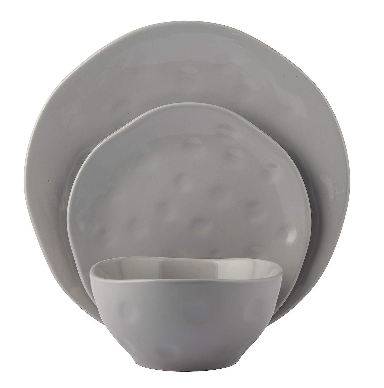 Melange Stoneware 18-Piece Dinnerware Set   Irregular Shape Collection   Service for 6   Microwave, Dishwasher & Oven Safe   Dinner Plate, Salad Plate & Soup Bowl, Grey (6 Each)