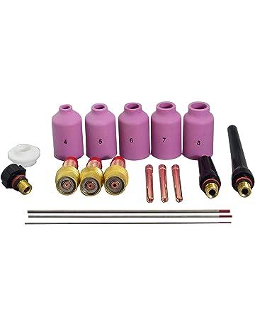 TIG lente de gas Coronilla Cuerpo Kit 2% Thoriated del tungsteno ajuste WP SR 17