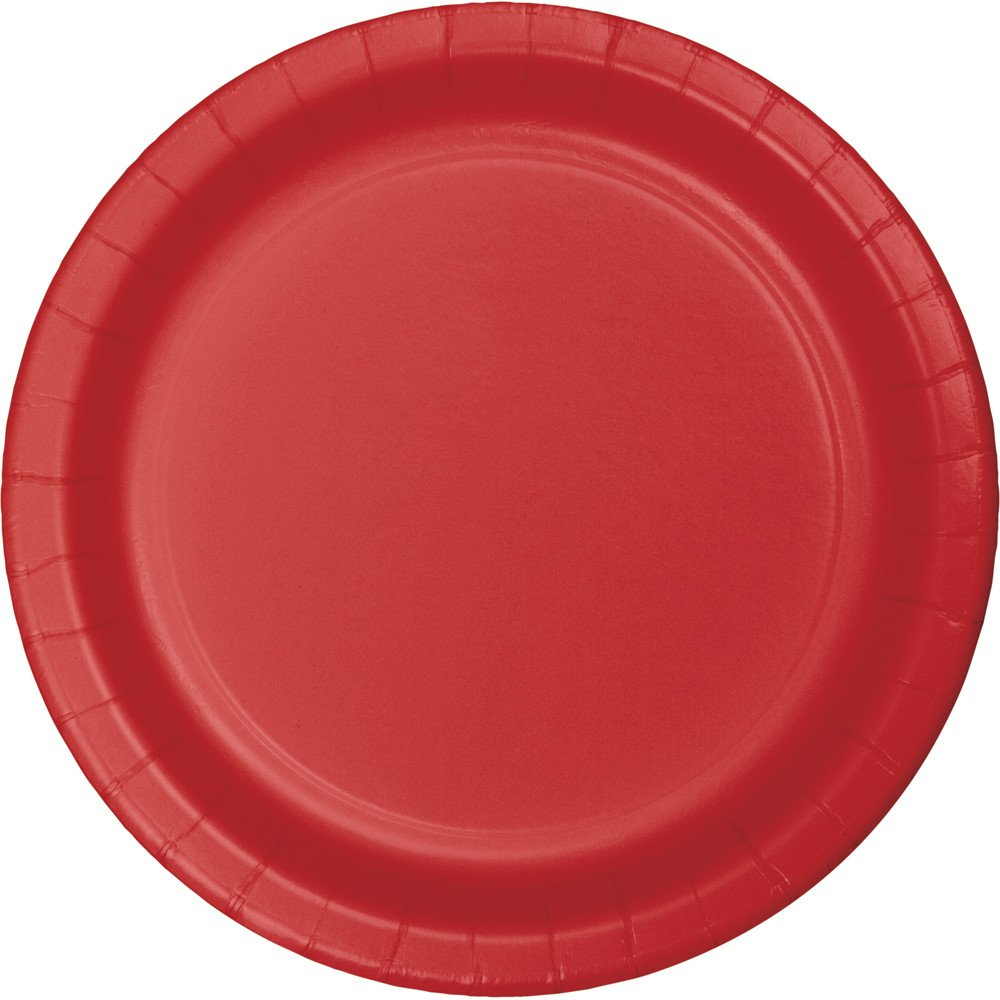 Creative Converting 791031B Touch of Color 240 Count Round Small//Dessert Paper Plates Classic Red