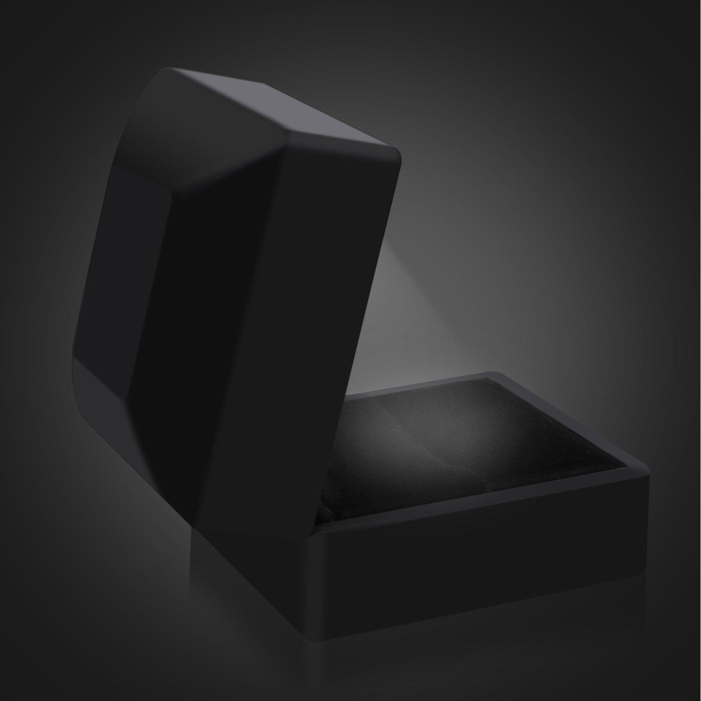 Proposta Anello di fidanzamento Organizer Box Nero Velluto Con LED gomma in vernice