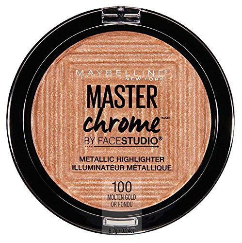 Maybelline Makeup Master Chrome Metallic Face Highlighter, Molten Gold Bronzing Powder, 0.24 oz