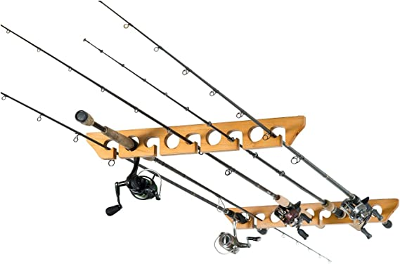 Organized Fishing Solid Pine Horizontal Ceiling Rack for Fishing Rod Storage
