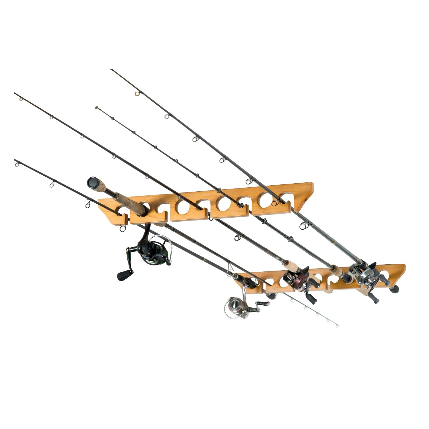 Fishing rods racks holder ceiling horizontal mount 9 rod for Fishing rod rack