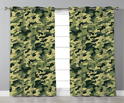 Thermal Insulated Blackout Grommet Window Curtains,Camouflage,Army Clothing Motif with Pale Color Splashes Abstract Military Patterned Image Decorative,Green Yellow,2 Panel Set Window Drapes,for Livin (Camouflage Drapes)