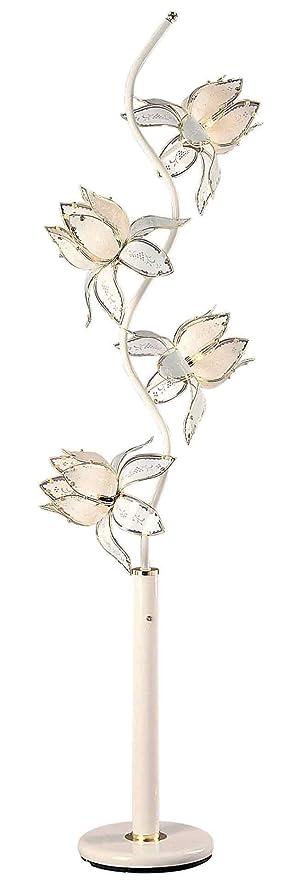 Ore International K 9334W 73 Inch Flower Floor Lamp, White