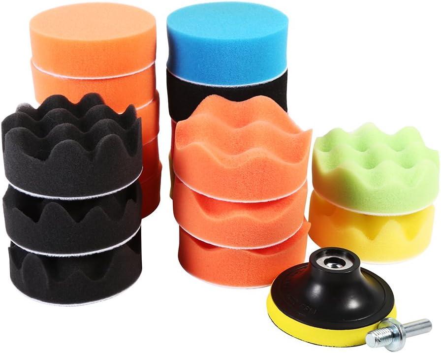 19 Stücke 3zoll Schwamm Buff Polieren Pads Auto Schaum Wachsen Polieren Waxing Buff Polierer Pad Set Für Auto Auto
