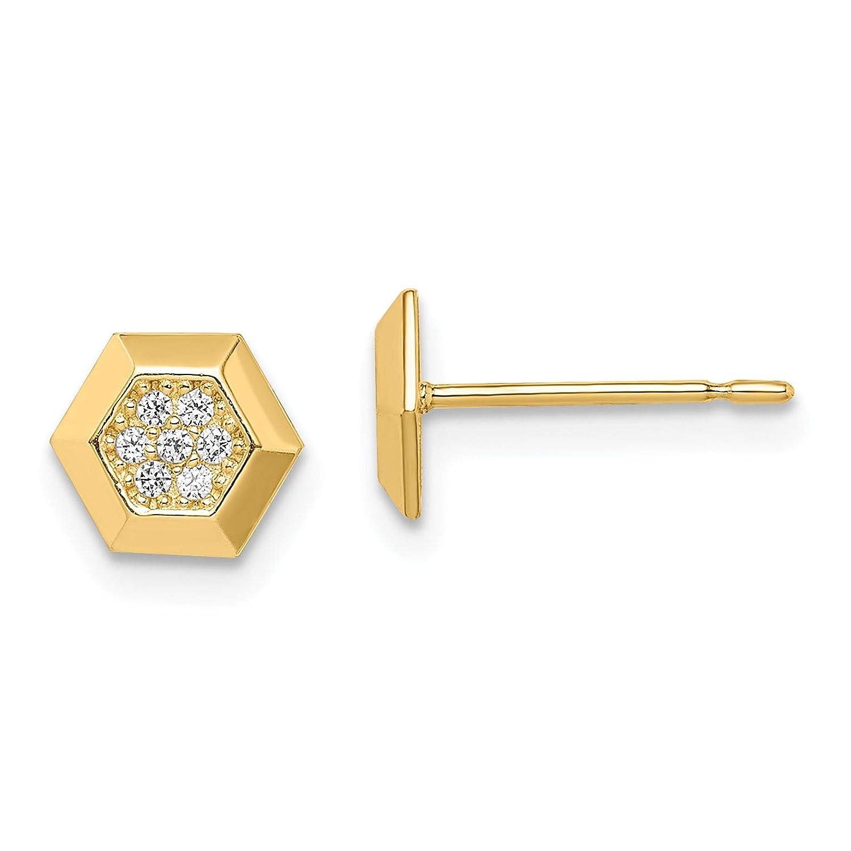 14k Yellow Gold Polished Hexagon CZ Stud Post Earrings by Madi K