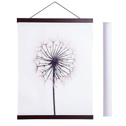 Magnetic Poster Hanger Frame 17x22 17x24 17x31 Light Wood Wooden Magnet Canvas Artwork Print Dowel Poster Hangers Frames Hanging Kit Walnut 17