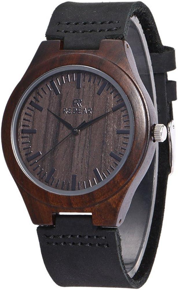 Reloj de Madera de bambú para Hombre, Cuarzo japonés y con la Correa de Cuero Genuino