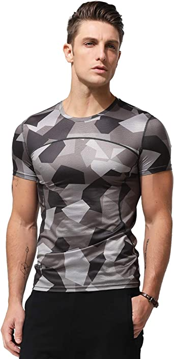 Men/'s Camo Shirt Fitness Athletic Gym Muscle T-shirt Slim Sport Training Tee Top