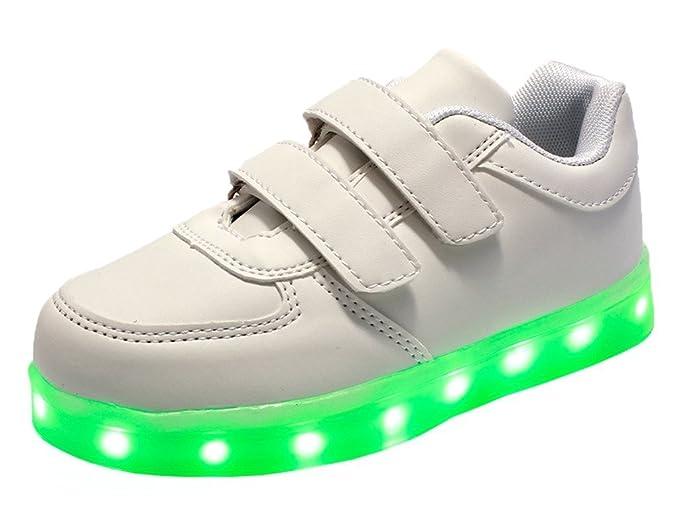 Minetoms Unisexe Enfants Garçons Filles Chaussures USB Charge LED Lumière  Lumineux Fluorescence Clignotants Chaussures de Sports 9da3884848f