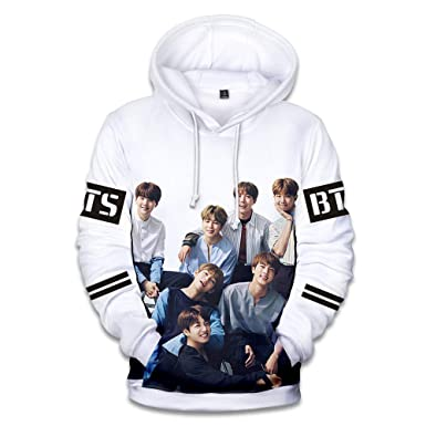 BTS Hoodies Pullover Sweatshirt Casual Kpop Winter Clothes Fans Support BLACK US