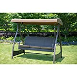 SunLife Porch Lawn Glider Swing 3-Seat Hammock Chair with Arc Stand,Steel Frame Garden Canopy Lounger