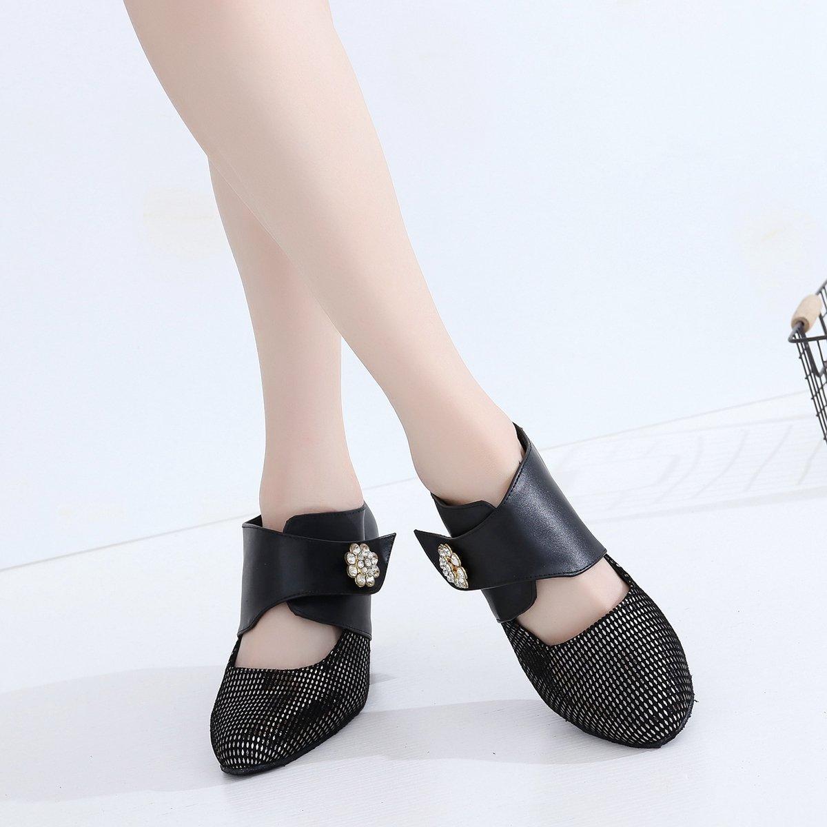 Minishion Women's Velcro Rhinestone Tango Leather Tango Rhinestone Latin Dance Shoes Evening Formal Party Pumps B07252C5MY Dance b0a618