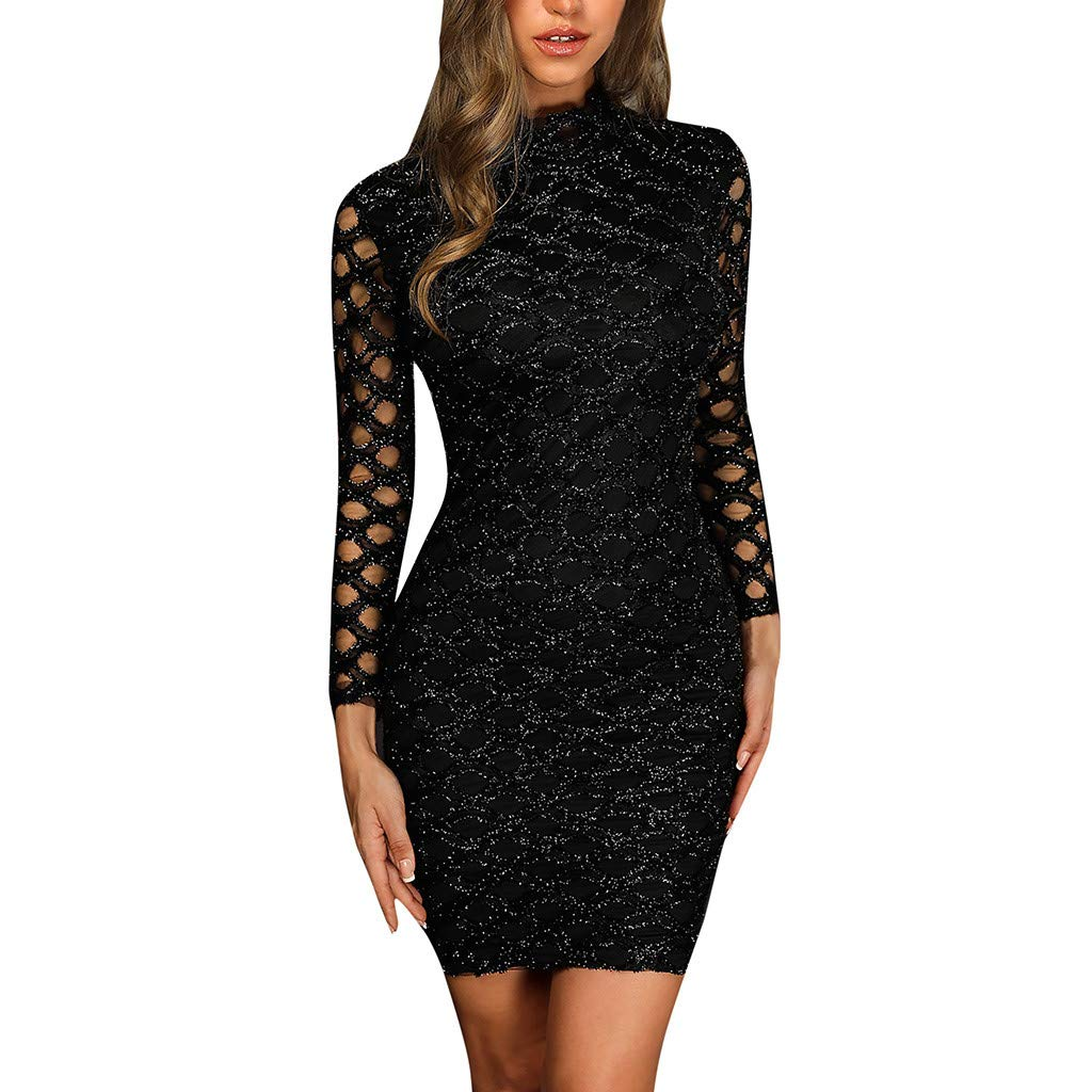 【MOHOLL】 Womens Long Sleeve Casual Party Work Belted Knee-Length Sheath Faux Black Wrap Dress Club Dress