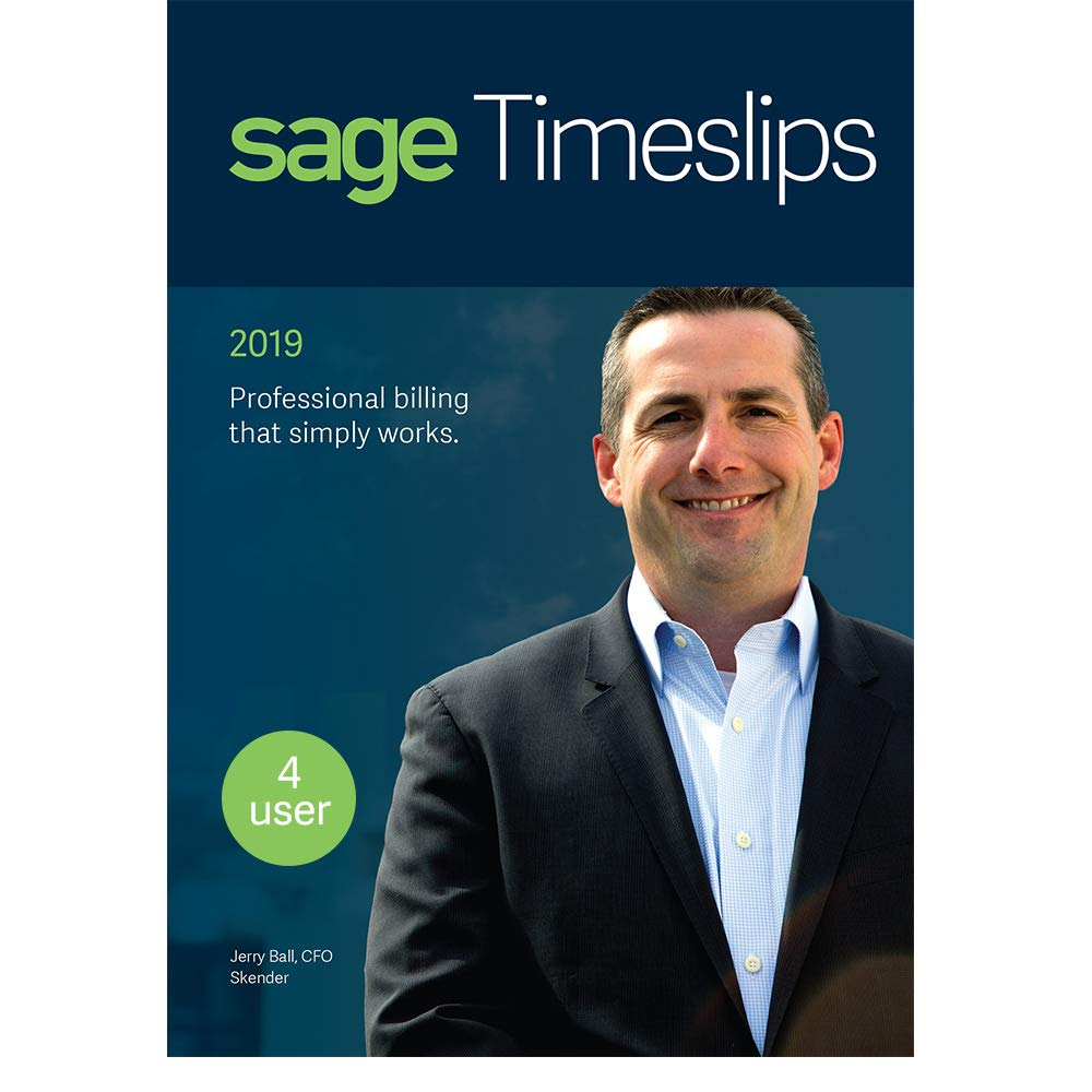 Sage Timeslips 2019, Time Tracking and Billing Software, Easy Data Entry, Over 100 Predefined Reports, Track Billable Hours, Streamline Billing Cycle, Guided Setup Wizard, Drag & Drop Design, 4-User by Sage Software