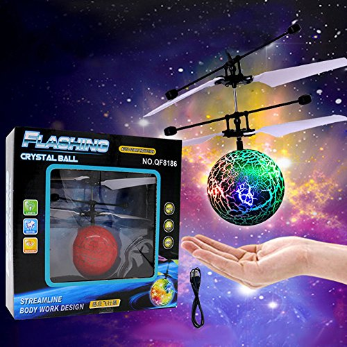 Lanlan RC Flying Ball with Color Changing LED Lights Blasting Cracks Flashing Suspended Inductive USB Charging Aircraft Star Flying Ball Green