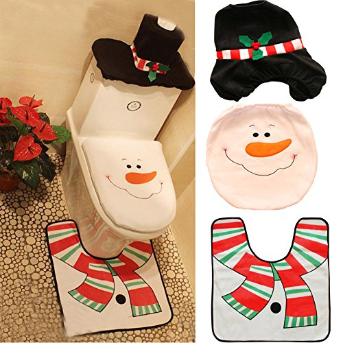 October Elf 3 Piece Bath Mat Set Christmas Decorations Happy Santa Toilet Seat Cover Set (E) ()