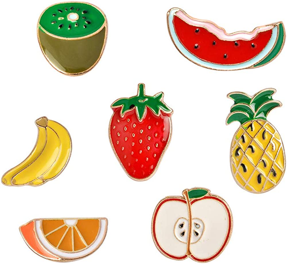 FLYPARTY 7 Pcs Cute Enamel Lapel Pins Set Cartoon Animal Plant Floral Fruits Foods Brooches Pin Badges for Clothing Bags Backpacks Jackets Hat DIY