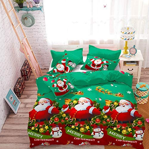 3Pcs Lightweight Microfiber Christmas/Xmas Duvet Cover Set Queen(90x90 inches),Santa Claus in Sleigh with Reindeer Snowman Snowflake Jingling Bell Quilt Cover Bedding Set (Dark Spring Green,Queen)