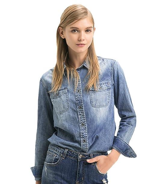 ZhiYuanAN Mujer Mezclilla Camisa De Manga Larga Retro Jeans Blusa Casual Slim Fit Denim Chaqueta Moda
