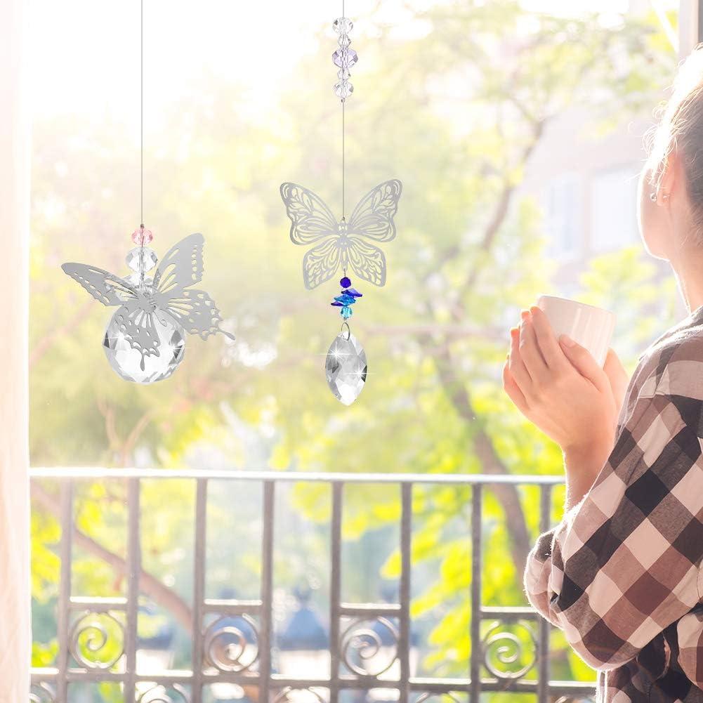 umorismo 2 PCS Crystal Suncatcher Hanging Ornament Rainbow Sun catcher Prisms Butterfly Pendants Window Suncatcher for Home Wedding Decoration