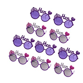 Novelty Sunglasses Fancy Dress Hen Party Glasses with Love Heart Crown Decor