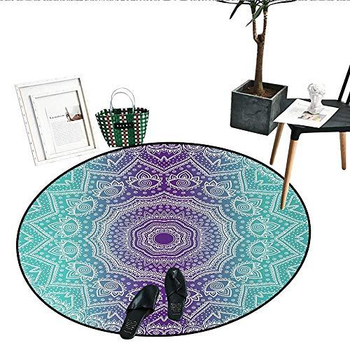 Purple Turquoise Dining Room Home Bedroom Carpet Floor Mat Hippie Ombre Mandala Inner Peace Meditation Ornamental Art Circle Rugs Living Room (28