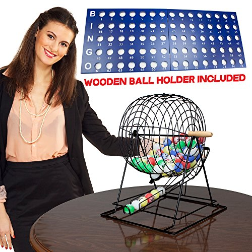 Premium Professional Jumbo Size Bingo Set with Large 19 Inch Cage & Balls - Includes Bonus 100 Pack of Bingo Cards! by RBS