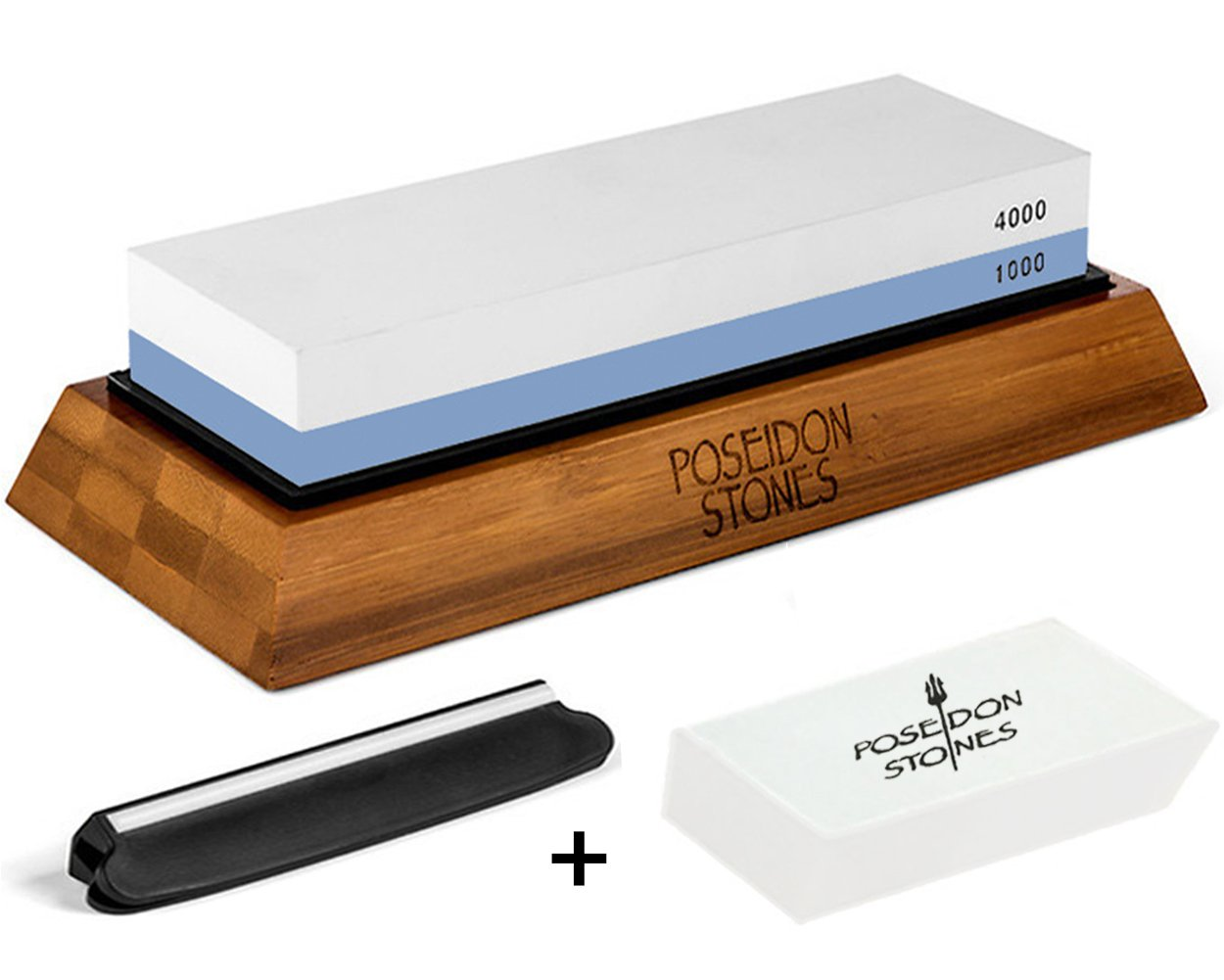 Premium Sharpening Stone Set - Japanese Style 1000 4000 Whetstone For Kitchen and Outdoor Knives - Bonus Flattening Stone and Angle Guide Included with Safe Non-Slip Bamboo Base