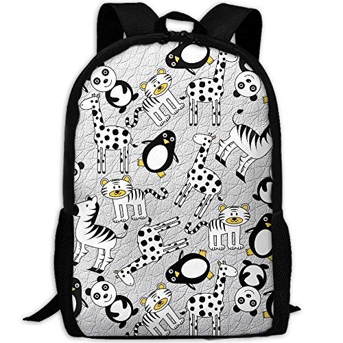 Penguin Costume Face Paint (Panda Giraffe Penguin Double Shoulder Backpacks For Adults Traveling Bags Full Print Fashion)