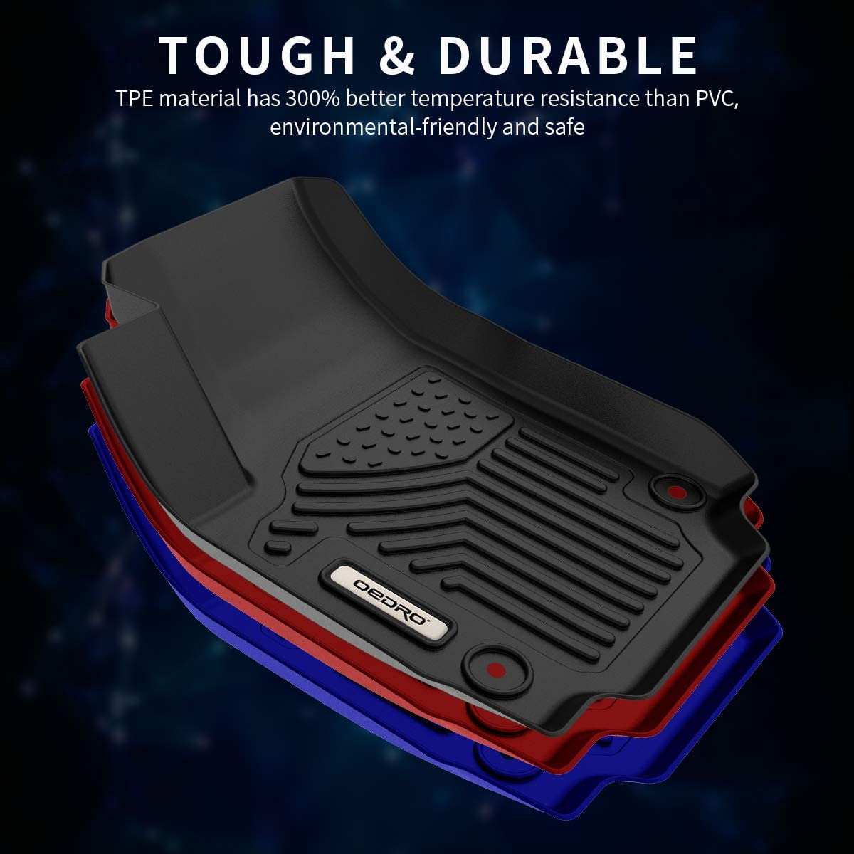 oEdRo Floor Mats Compatible for 2018-2020 GMC Terrain Unique Black TPE All-Weather Guard Includes 1st and 2nd Row Full Set Liners