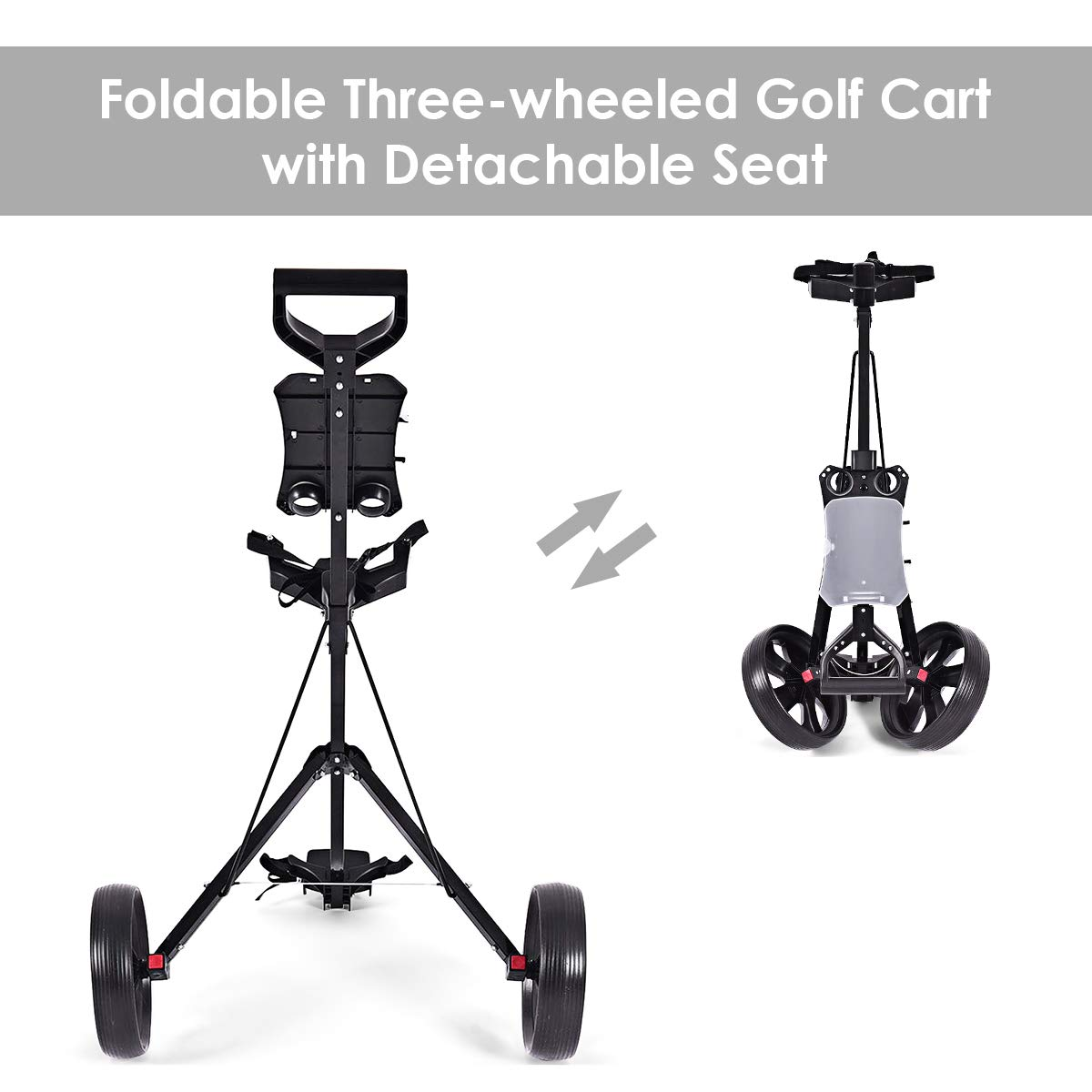COSTWAY Golf Cart Foldable 2 Wheel Push Pull Cart Trolley by COSTWAY (Image #5)