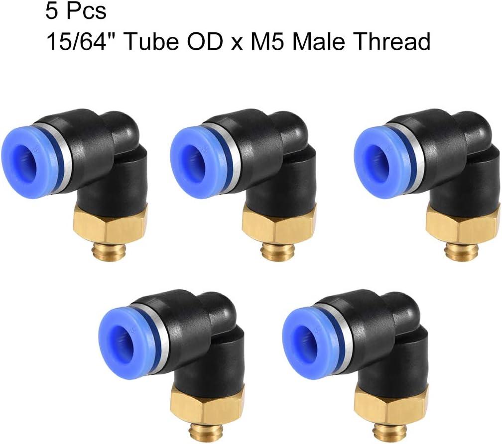 Sourcing Map Lot de 5 raccords de tube m/âle coud/és 4 mm filetage OD x M5 pneumatiques Bleu