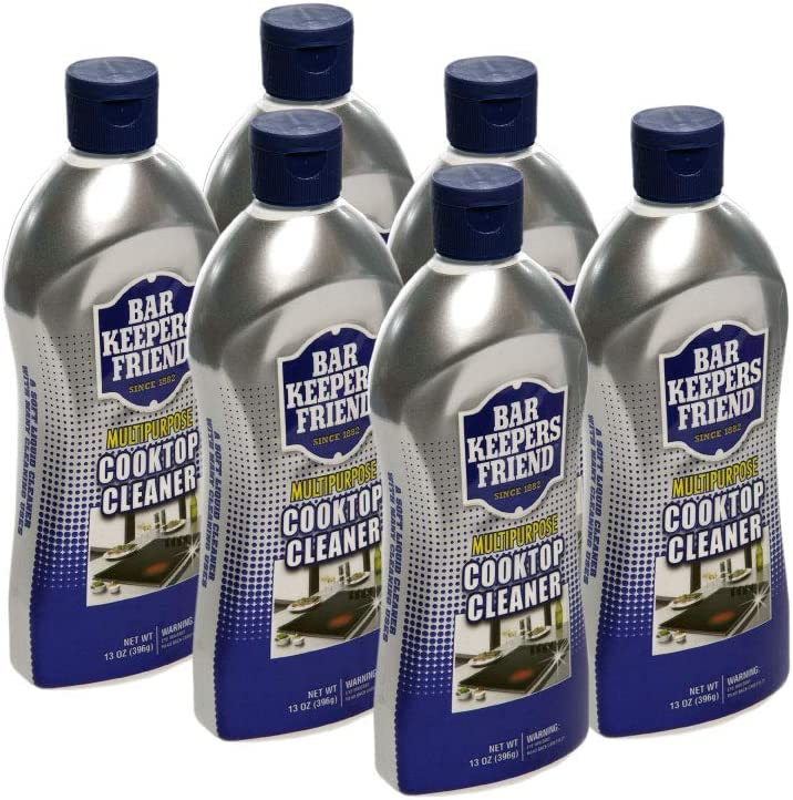 Bar Keepers Friend Multipurpose Cooktop Cleaner (13 oz) - Liquid Stovetop Cleanser - Safe for Use on Glass Ceramic Cooking Surfaces, Copper, Brass, Chrome, and Stainless Steel and Porcelain Sinks (6)