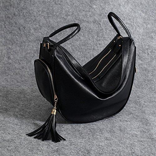 end Backpack quality Multi Woman Shoulder Bag Ladies functional High Fashion Pu Fringed Black High YwfTq4Y