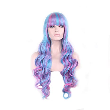 Quibine 80cm estilo Lolita peluca mujer larga rizado azul violeta Ombre Rose pelucas pelo Cosplay traje