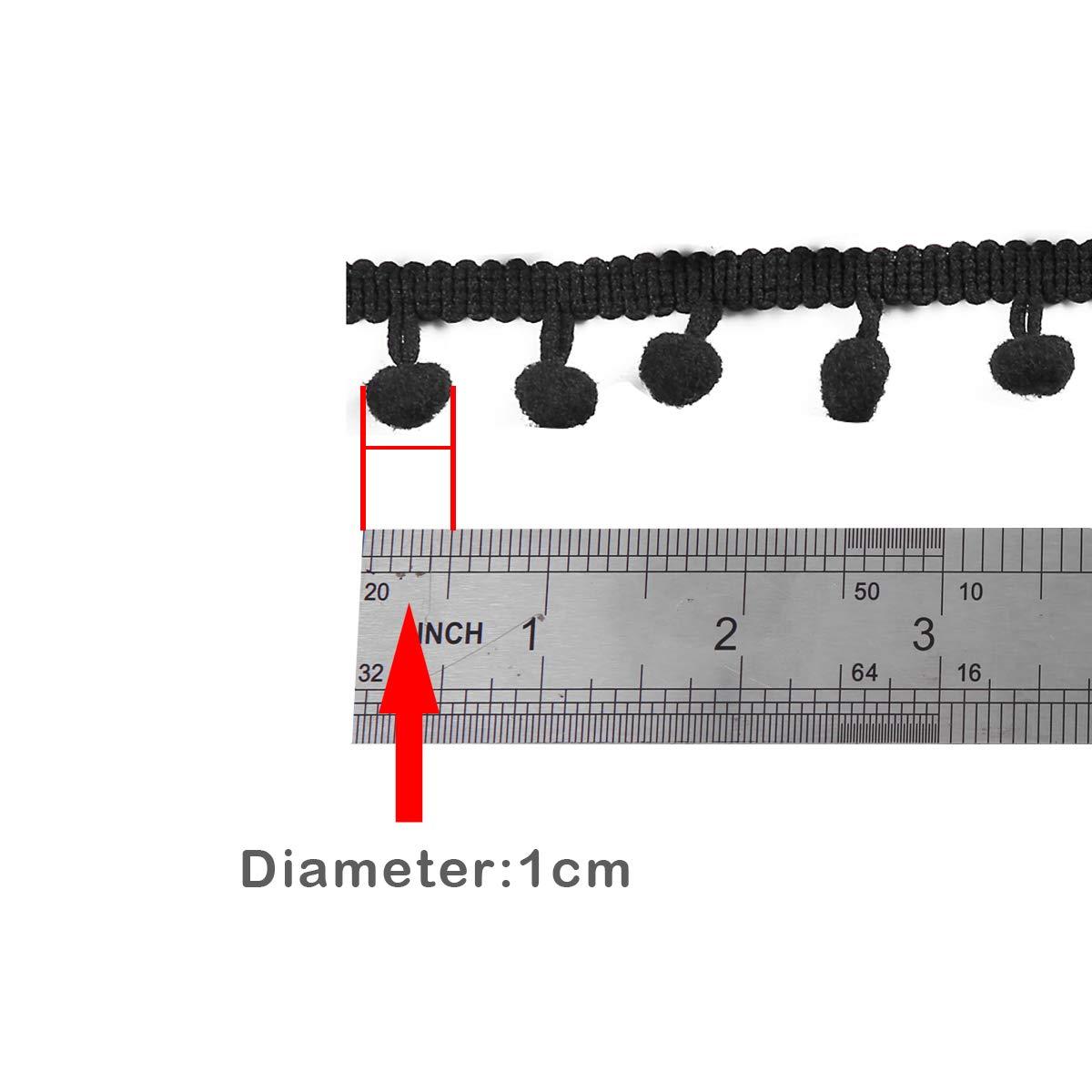 Purple Teemico 20 Yards Mini Pom Pom Trim Ball Fringe Ribbon Sew on Pom Pom Fringe Tassel Lace for DIY Sewing Accessory