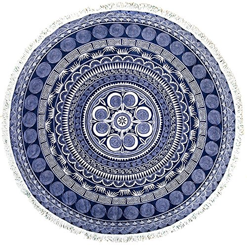 ANswet Superior Manual Beaded Tassel 100% Cotton 59 inches Round Beach Towel Throw Tapestry Gypsy Tablecloth Yoga Mat 900 Grams of cut velvet Super Soft(Symbol of Civilization 2)