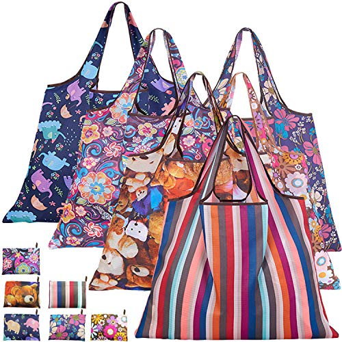 Reusable Grocery Bags 6 Pack,Foldable Shopping Tote Bags,Waterproof Machine Washable Eco-Friendly Durable and Lightweight
