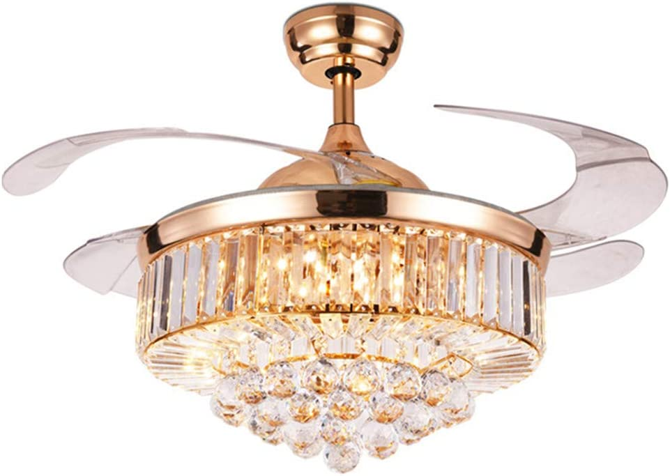 Fandian 42 Crystal Ceiling Fan with Light Luxury Chandelier Remote Control 3 Speeds 3 Color Changes Retractable Acrylic Blades Lighting Fixtures, Silent Motor With LED Bulbs Included Rose Gold