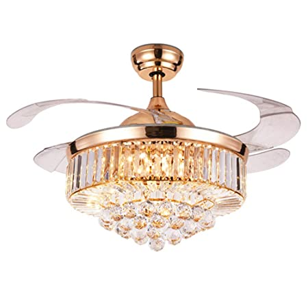 Fandian 42 Crystal Ceiling Fan with Light Luxury LED Chandelier Remote Control 3 Speeds 3 Color Changes Retractable Acrylic Blades Ceiling Fixture, Silent Motor With LED Bulbs Included Rose Gold