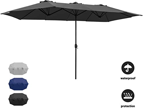 Devoko Patio Umbrella Double Sided Outdoor Umbrella Rectangular Large with Crank for Patio Shade Outside Pool Using Black