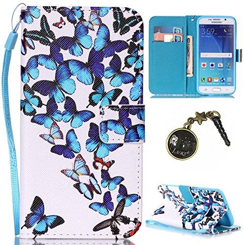 Para Smartphone Samsung Galaxy S6Funda Flip Cover Funda Piel [Tarjetero] funda piel cartera Executive Diseño + Polvo Conector negro 3 6