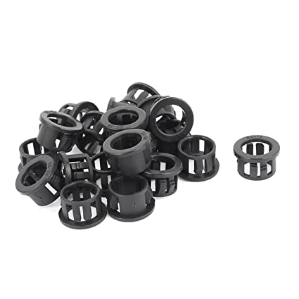 30pcs 14mm Mounted Dia Snap in Cable Bushing Grommet Protector Black