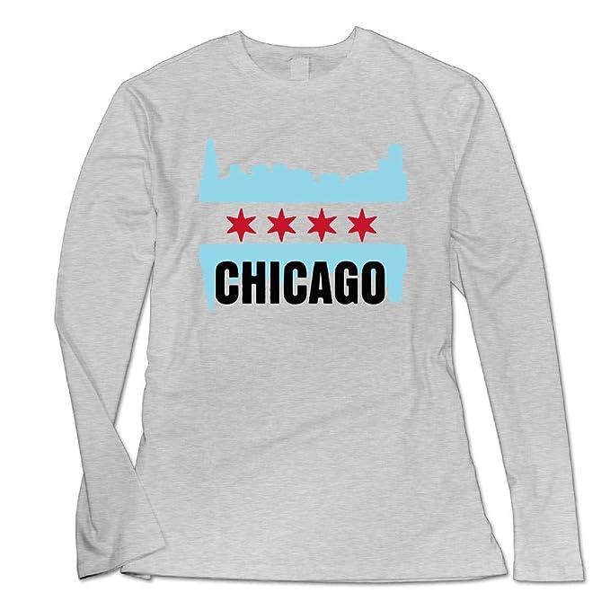 d11efbf73 Amazon.com: USA Chicago Flag Custom Lightweight Long Sleeve Crew ...