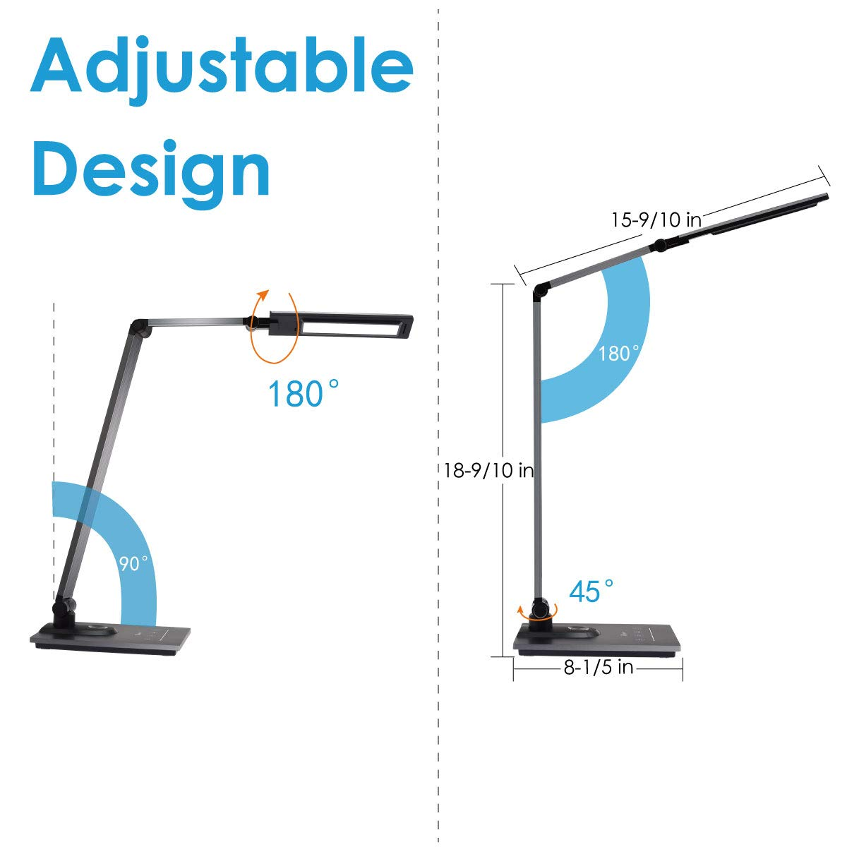 IMIGY Aluminum Alloy LED Desk Lamp with USB Charging Port, 9W Dimmable Office Lamp, Slide Touch Control with Stepless Adjustable Brightness and 3 Color Modes, Black by IMIGY (Image #6)