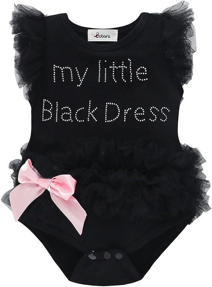2018 Kids Baby Girls Embroidered My Little Black Dress Bodysuit Romper Jumpsuits